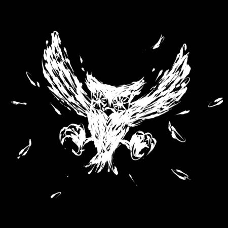 hovering: Hovering hunt owl claw illustration brush style white color isolated on black background