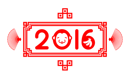 red fan: Chinese new year 2016 typography monkey, banana and fan design with frame red color isolated on white background