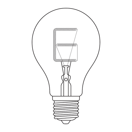 incandescent: The letter E, in the alphabet Incandescent light bulb set outline style black and white color isolated on white background Illustration