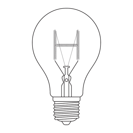 edison: The letter H, in the alphabet Incandescent light bulb set outline style black and white color isolated on white background