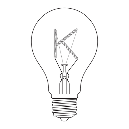 incandescent: The letter K, in the alphabet Incandescent light bulb set outline style black and white color isolated on white background