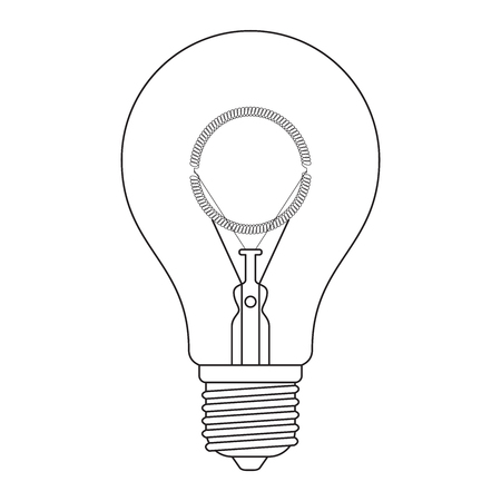 edison: The letter O, in the alphabet Incandescent light bulb set outline style black and white color isolated on white background