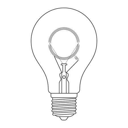 edison: The letter Q, in the alphabet Incandescent light bulb set outline style black and white color isolated on white background Illustration