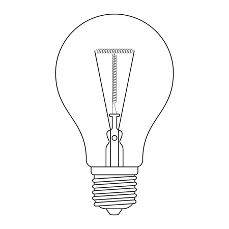 t bulb: The letter T, in the alphabet Incandescent light bulb set outline style black and white color isolated on white background Illustration