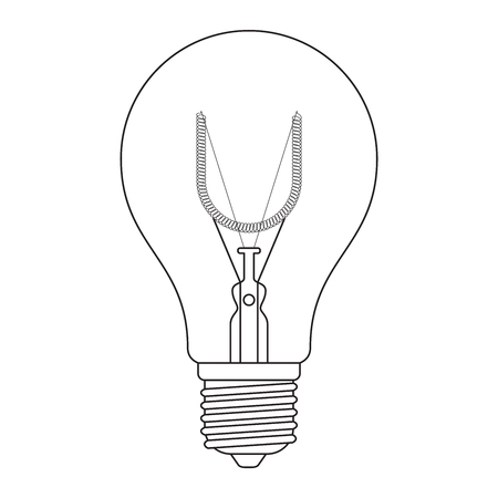 incandescent: The letter U, in the alphabet Incandescent light bulb set outline style black and white color isolated on white background Illustration