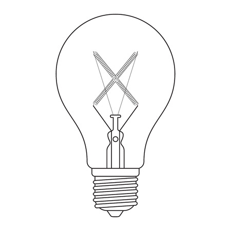 incandescent: The letter X, in the alphabet Incandescent light bulb set outline style black and white color isolated on white background Illustration