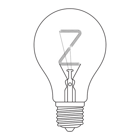 The letter Z, in the alphabet Incandescent light bulb set outline style black and white color isolated on white background