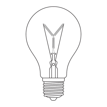 incandescent: The letter Y, in the alphabet Incandescent light bulb set outline style black and white color isolated on white background