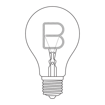 edison: The letter B, in the alphabet Incandescent light bulb set outline style black and white color isolated on white background