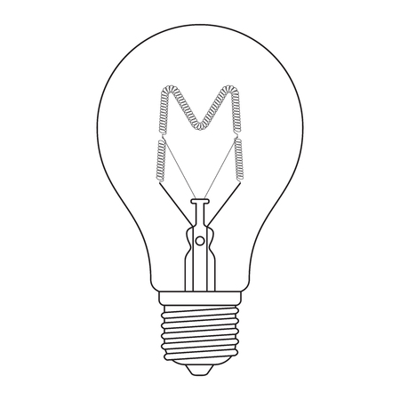 The letter M, in the alphabet Incandescent light bulb set outline style black and white color isolated on white background