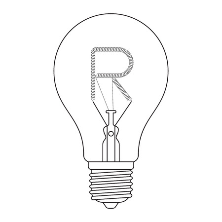 incandescent: The letter R, in the alphabet Incandescent light bulb set outline style black and white color isolated on white background