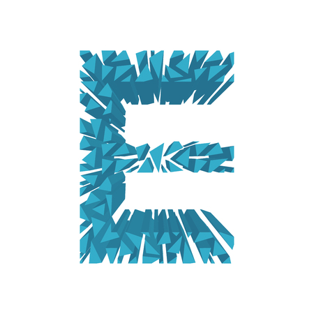 blasting: The letter E, in the alphabet broken 3d perspective set blue color isolated on white background Illustration