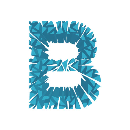 The letter B, in the alphabet broken 3d perspective set blue color isolated on white background