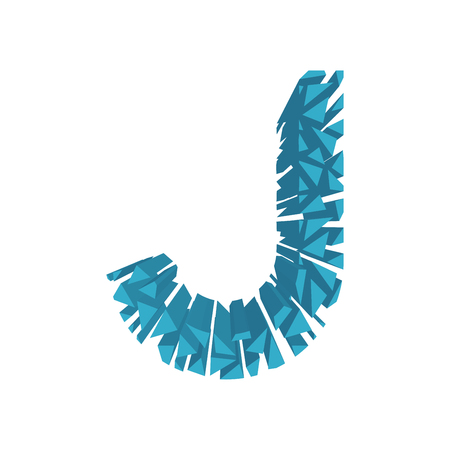 blasting: The letter J, in the alphabet broken 3d perspective set blue color isolated on white background Illustration