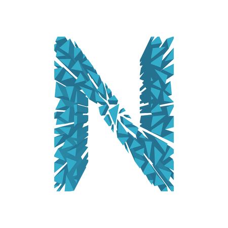 The letter N, in the alphabet broken 3d perspective set blue color isolated on white background
