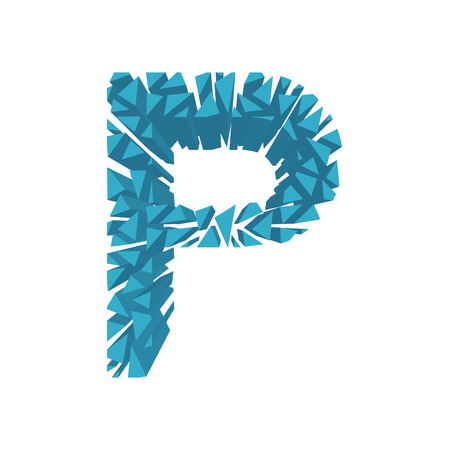 The letter P, in the alphabet broken 3d perspective set blue color isolated on white background Illustration