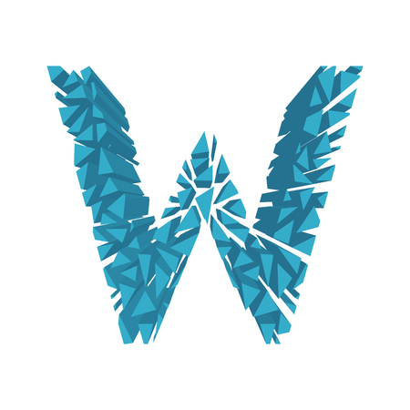 The letter W, in the alphabet broken 3d perspective set blue color isolated on white background