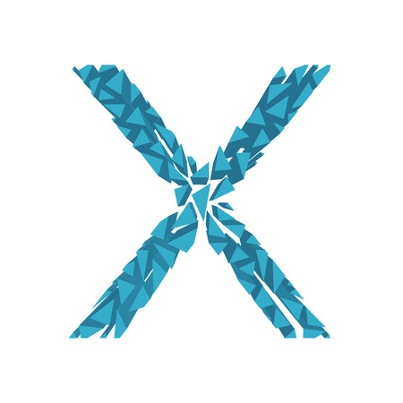 blasting: The letter X, in the alphabet broken 3d perspective set blue color isolated on white background Illustration