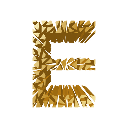 blasting: The letter E, in the alphabet broken 3d perspective set gold color isolated on white background