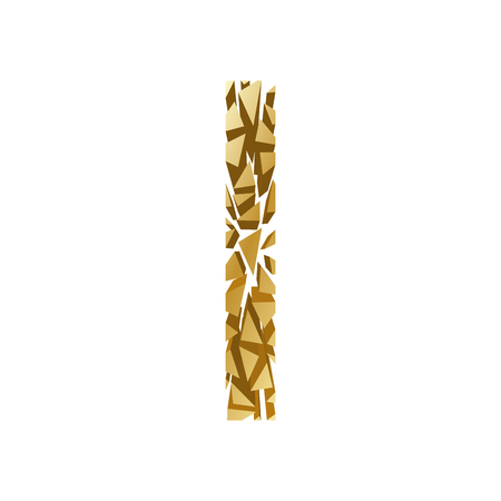 blasting: The letter I, in the alphabet broken 3d perspective set gold color isolated on white background