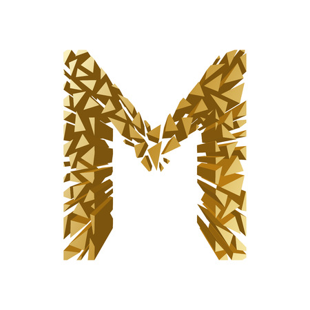 The letter M, in the alphabet broken 3d perspective set gold color isolated on white background