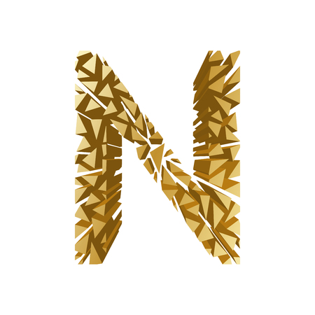 blasting: The letter N, in the alphabet broken 3d perspective set gold color isolated on white background Illustration