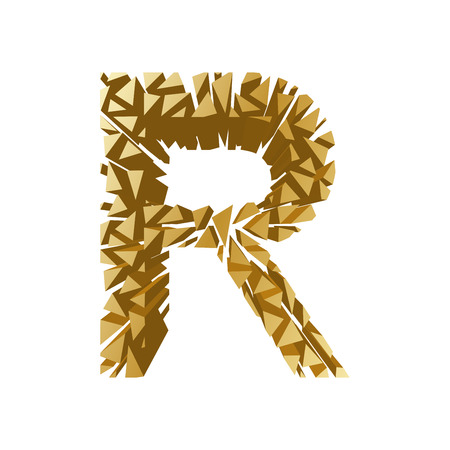 The letter R, in the alphabet broken 3d perspective set gold color isolated on white background