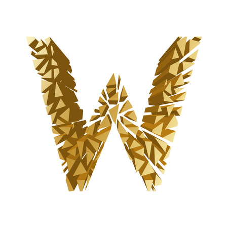 blasting: The letter W, in the alphabet broken 3d perspective set gold color isolated on white background Illustration