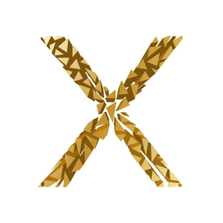 blasting: The letter X, in the alphabet broken 3d perspective set gold color isolated on white background Illustration