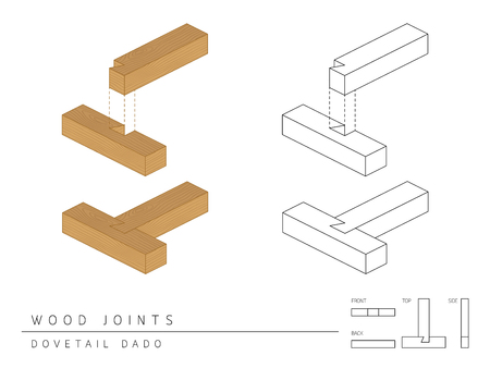 Type of wood joint set Dovetail Dado style, perspective 3d with top front side and back view isolated on white background Illustration