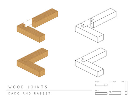joinery: Type of wood joint set Dado and Rabbet style, perspective 3d with top front side and back view isolated on white background