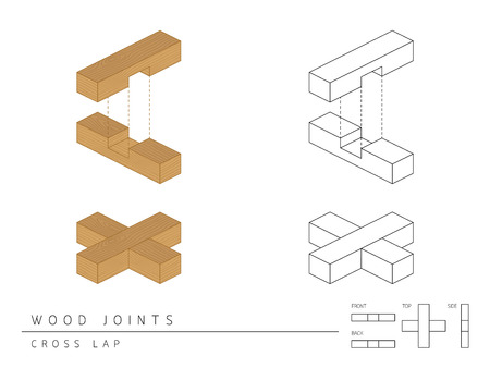 Type of wood joint set Cross Lap style, perspective 3d with top front side and back view isolated on white background