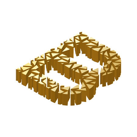 blasting: The letter B, in the alphabet broken 3d perspective isometric set gold color isolated on white background