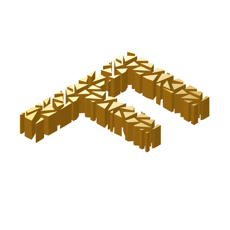 blasting: The letter F, in the alphabet broken 3d perspective isometric set gold color isolated on white background Illustration