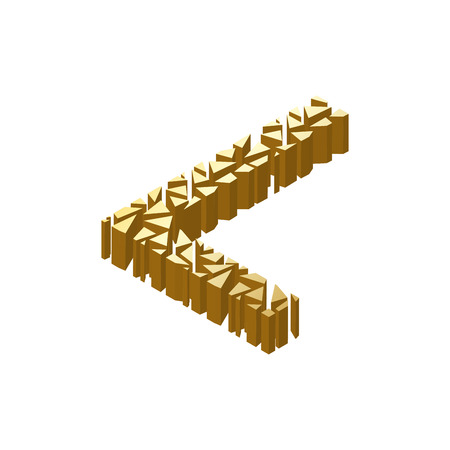 blasting: The letter L, in the alphabet broken 3d perspective isometric set gold color isolated on white background