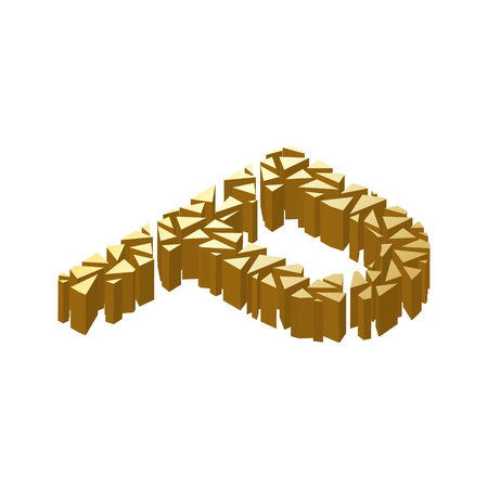 blasting: The letter P, in the alphabet broken 3d perspective isometric set gold color isolated on white background