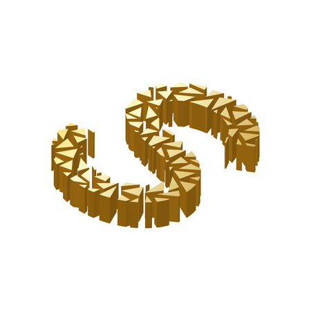 blasting: The letter S, in the alphabet broken 3d perspective isometric set gold color isolated on white background Illustration