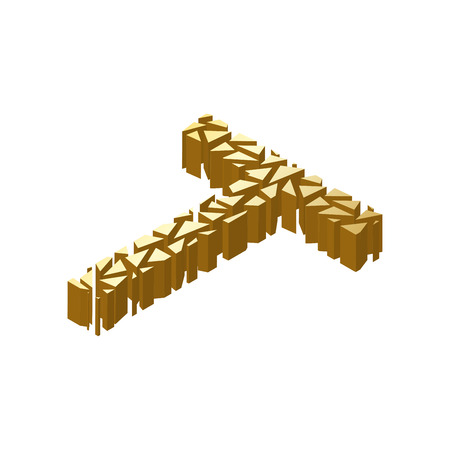 blasting: The letter T, in the alphabet broken 3d perspective isometric set gold color isolated on white background