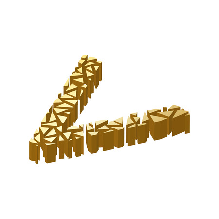 blasting: The letter V, in the alphabet broken 3d perspective isometric set gold color isolated on white background Illustration