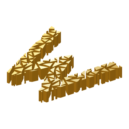 blasting: The letter W, in the alphabet broken 3d perspective isometric set gold color isolated on white background