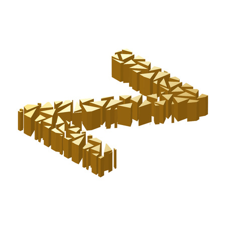 blasting: The letter Z, in the alphabet broken 3d perspective isometric set gold color isolated on white background