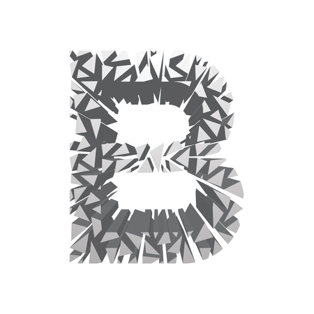 blasting: The letter B, in the alphabet broken 3d perspective set silver color isolated on white background