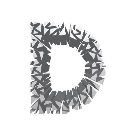 blasting: The letter D, in the alphabet broken 3d perspective set silver color isolated on white background Illustration