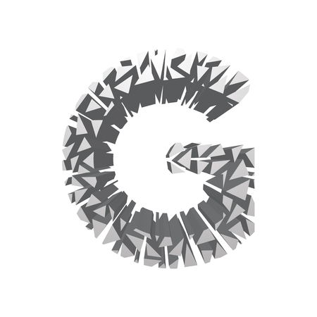 blasting: The letter G, in the alphabet broken 3d perspective set silver color isolated on white background Illustration
