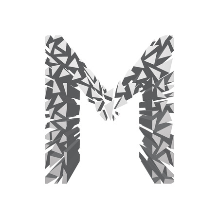 blasting: The letter M, in the alphabet broken 3d perspective set silver color isolated on white background