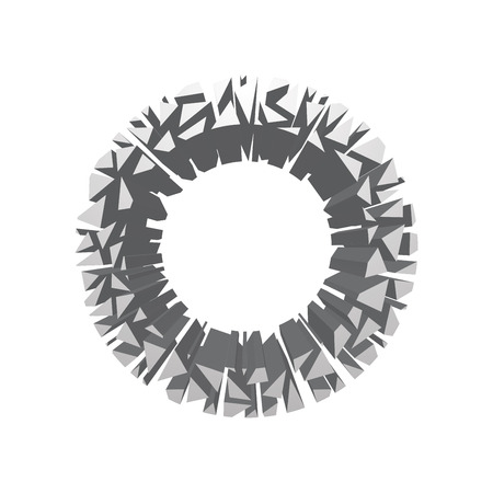 The letter O, in the alphabet broken 3d perspective set silver color isolated on white background