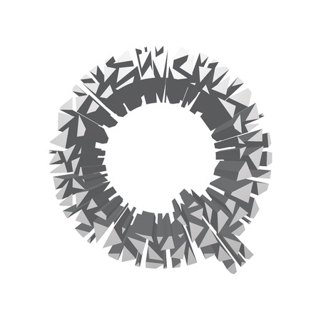 The letter Q, in the alphabet broken 3d perspective set silver color isolated on white background