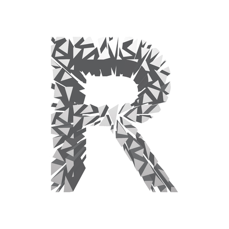 blasting: The letter R, in the alphabet broken 3d perspective set silver color isolated on white background Illustration
