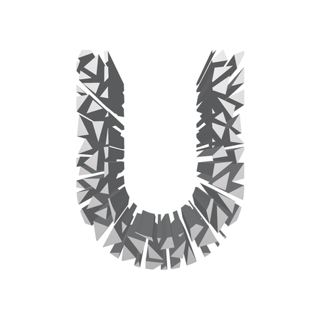 blasting: The letter U, in the alphabet broken 3d perspective set silver color isolated on white background Illustration