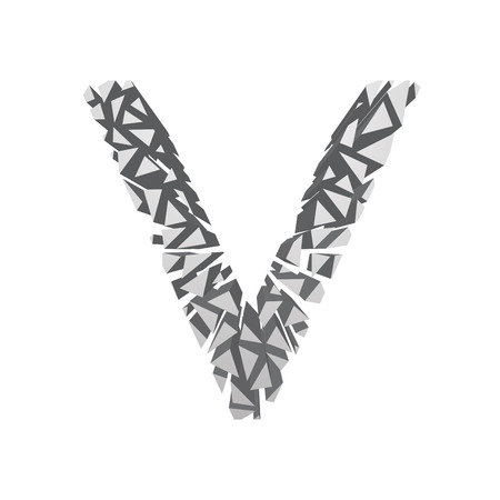 blasting: The letter V, in the alphabet broken 3d perspective set silver color isolated on white background